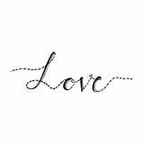 Liefdekaart met hand het van letters voorzien liefde en hart Gelukkige valentijnskaartendag Op witte achtergrond Vector illustrat Stock Afbeeldingen