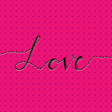 Liefdekaart met hand het van letters voorzien liefde en naadloos patroon met hart Gelukkige valentijnskaartendag Op roze achtergr Stock Afbeeldingen