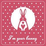 Liefdekaart met konijntje en harten Royalty-vrije Stock Afbeeldingen