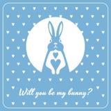 Liefdekaart met konijntje en harten Stock Foto's