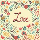 Liefdekaart met met de hand geschreven liefde in bloemenkader Stock Fotografie