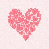 Liefdekaart van rode harten op roze achtergrond wordt gemaakt die vector illustratie