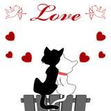 Liefdeontwerp, de dagbehang van de kattenliefde designcat stock illustratie