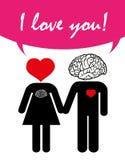 Liefdepaar, de dag van de valentijnskaart, liefde met hart en hersenen Stock Afbeeldingen