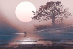 Liefdepaar in de winterlandschap met reusachtige hierboven maan Royalty-vrije Stock Foto