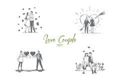 Liefdepaar - het houden van het romantische paar openlucht lopen en het koesteren van elkaar vectorconceptenreeks royalty-vrije illustratie