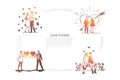 Liefdepaar - het houden van het romantische paar openlucht lopen en het koesteren van elkaar vectorconceptenreeks vector illustratie