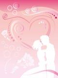 In liefdepaar op achtergrondlijnen Vector Illustratie