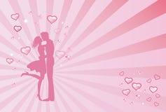 In liefdepaar op een roze achtergrond Stock Illustratie