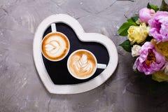 Liefdepaar van cappuccino Royalty-vrije Stock Foto