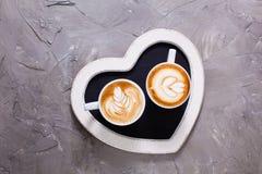 Liefdepaar van cappuccino Royalty-vrije Stock Afbeelding