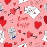 Liefdepatroon op een roze achtergrond Stock Afbeeldingen