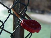 Liefdesloten voor eeuwige liefde van paren bij brug met omheining en water op achtergrond stock foto