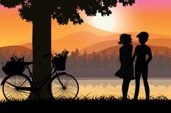Liefdesnoepje bij zonsondergang, Vectorillustraties Stock Afbeelding