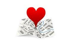 Liefdespeld op kaartgps geïsoleerd plaatspictogram Stock Fotografie