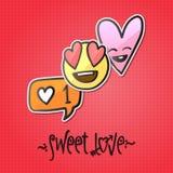 Liefdestickers, emoji, pictogrammen, emoticons, vectorillustratie Stock Afbeeldingen