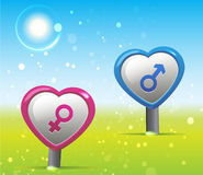 Liefdesymbool met Landschap stock illustratie