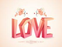 Liefdetekst met cupido's voor de Dag van Valentine Royalty-vrije Stock Foto's