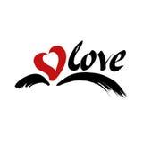 Liefdevector Hand het getrokken van letters voorzien met hart en vleugels Royalty-vrije Stock Fotografie