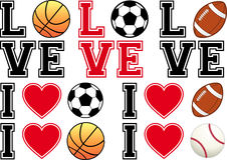 Liefdevoetbal, voetbal, basketbal, honkbal, vecto Royalty-vrije Stock Foto's