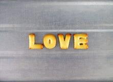 Liefdewoord, de brieven van koekjeskoekjes royalty-vrije stock foto