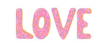 Liefdewoord uit donutsbrieven die wordt gemaakt vector illustratie