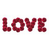 Liefdewoord van rode rozen wordt gemaakt die Stock Foto's