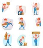 Lieferbote-Fracht-Fracht-Kasten-Laden-Lieferungs-Versand-Lader-Charakter-Ikonen-Karikatur-Design-Schablonen-Vektor Stockbild