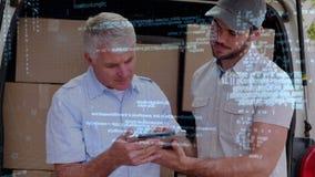 Lieferbote mit seinem Manager stock video footage