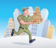 Lieferer, der mit Paketen läuft Stockbilder