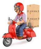 Lieferer des Kuriers 3D, der ein Paket durch Roller motorcyc liefert Lizenzfreie Stockfotografie