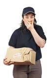 Liefern eines geschädigten Pakets Lizenzfreie Stockbilder