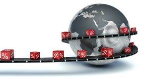 Lieferung der Waren an einem Rabatt über der Welt Lizenzfreie Stockfotografie