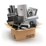 Lieferung oder bewegliches Konzept Haushaltsgerät im Kasten Kühlschrank, washi lizenzfreie abbildung