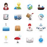 Lieferung und logistische Verschiffenikonen Lizenzfreie Stockbilder