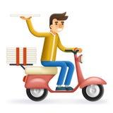 Lieferungs-Kurier-Motorcycle Scooter Box-Symbol-Ikonen-Konzept der Pizza-3d realistisches auf dem stilvollen Hintergrund flach Lizenzfreies Stockfoto