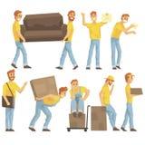 Lieferungs-und Umzugsunternehmen-Angestellte, die schwere Gegenstände tragen, Versand liefern und beim Wiedereinsetzungs-Satz VON stock abbildung