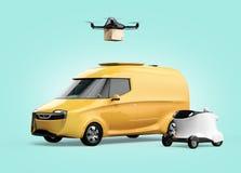 Lieferungsbrummenstart vom gelben elektrisch betriebenen Packwagen, weißer Lieferungsroboter auf linker Seite Stockfoto