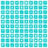 100 Lieferungsikonen stellten Schmutz blau ein Lizenzfreie Stockfotografie
