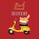 Lieferungsmotorrad-Vektorillustration des frischen Brotes Lizenzfreies Stockfoto