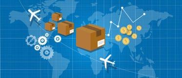 Lieferungspaket, das weltweite Kartenkugel versendet Lizenzfreies Stockbild