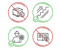 Lieferungstimer, Treppen- und Ingenieurikonensatz Hilfszeichen Eillogistik, Treppenhaus, Arbeitskraft mit Zahnrad Vektor stock abbildung