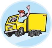 Lieferwagen-Fahrer Waving Cartoon Lizenzfreies Stockbild