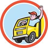 Lieferwagen-Fahrer Waving Circle Cartoon Lizenzfreie Stockbilder