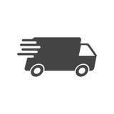 Lieferwagenvektorillustration Schnelle Zustelldienst-Versandikone Stockfotos