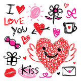 Liefje I houdt van u Valentine Heart Cute Cartoon Vector Stock Foto
