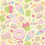 Liefje naadloos patroon - snoepjes, cupcakes, Royalty-vrije Stock Fotografie