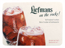 Liefmans coaster with advertisements for fruit beer. Stock Photos