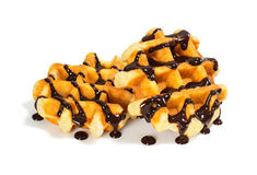 Liege Belgian Waffles with Chocolate Sauce Stock Photos