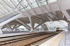 LIEGE BELGIEN - December 2014: Den Liege-Guillemins järnvägstaen Royaltyfria Bilder